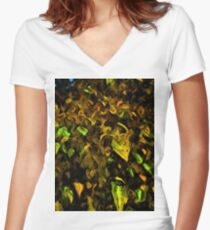 Tree with Brown, Gold and Green Leaves Women's Fitted V-Neck T-Shirt
