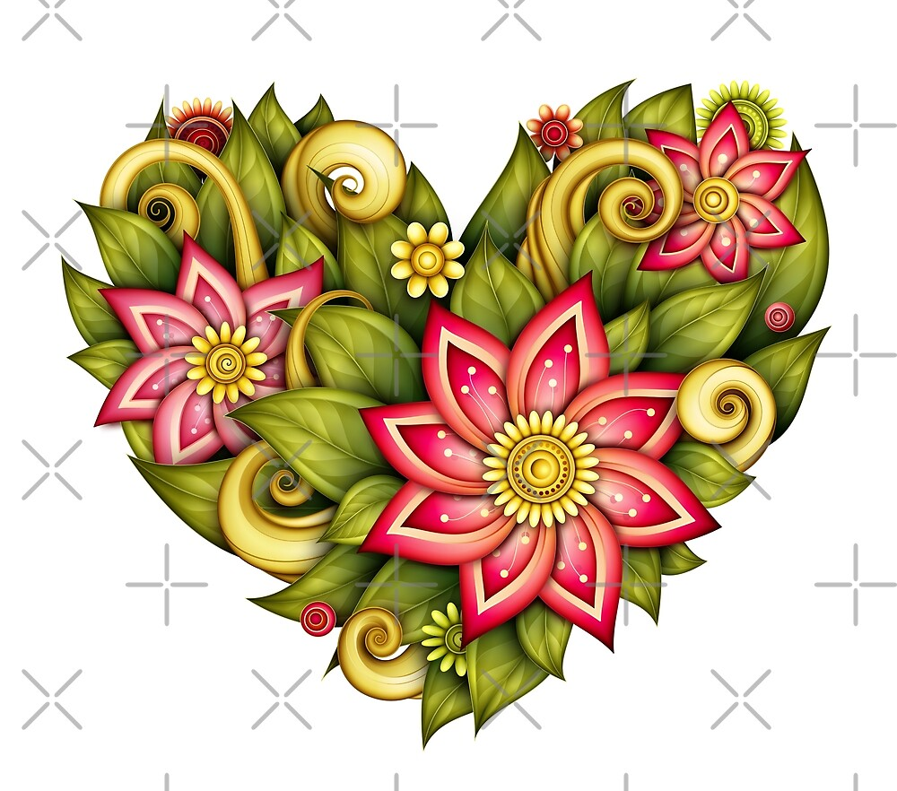 Heart with Flowers, Leaves and Swirls by lissantee