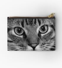 Black and White Cat Close-up Studio Pouch