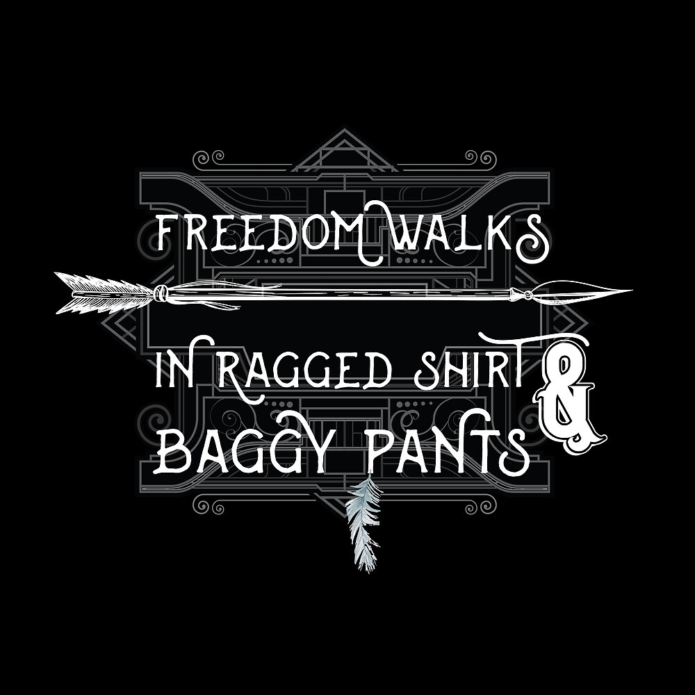 Freedom walks in ragged shirt and baggy pants - Vintage Bohemian Boho Hippie Style Design by TheCrossroad