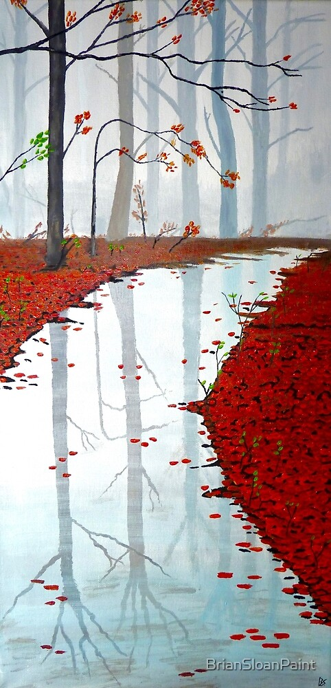 Serenity Misty Forest Acrylic Painting by BrianSloanPaint