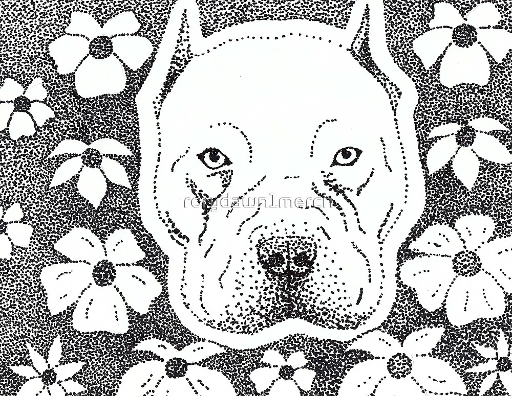 Pit bull & Flowers by rorydawn1merch