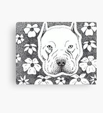 Pit bull & Flowers Canvas Print