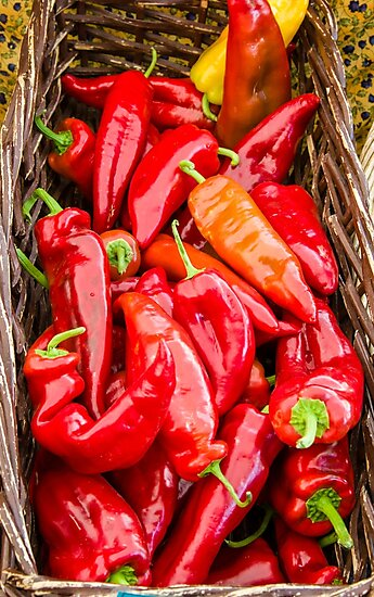 Basket of red hot peppers by Zigzagmtart