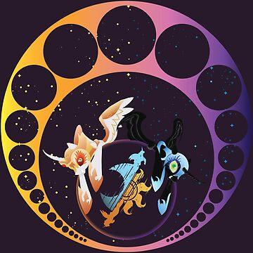 Day Breaker v Nightmare Moon Art Deco by TrotLOeilArt