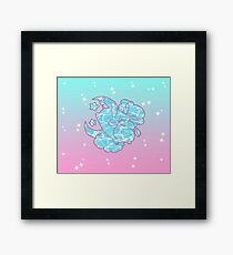 Ombre Pink and Cyan Angel Cow Framed Print