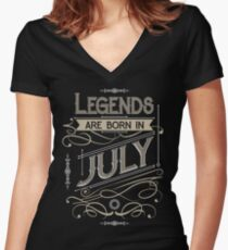 Legends are Born in July T-shirt Women's Fitted V-Neck T-Shirt
