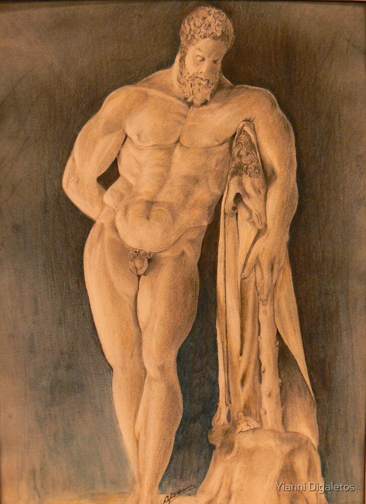 Drawing of Hercules Farnese Uffizi by Yianni Digaletos