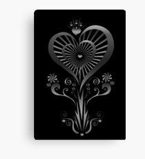 Heart Flower - Silver Canvas Print