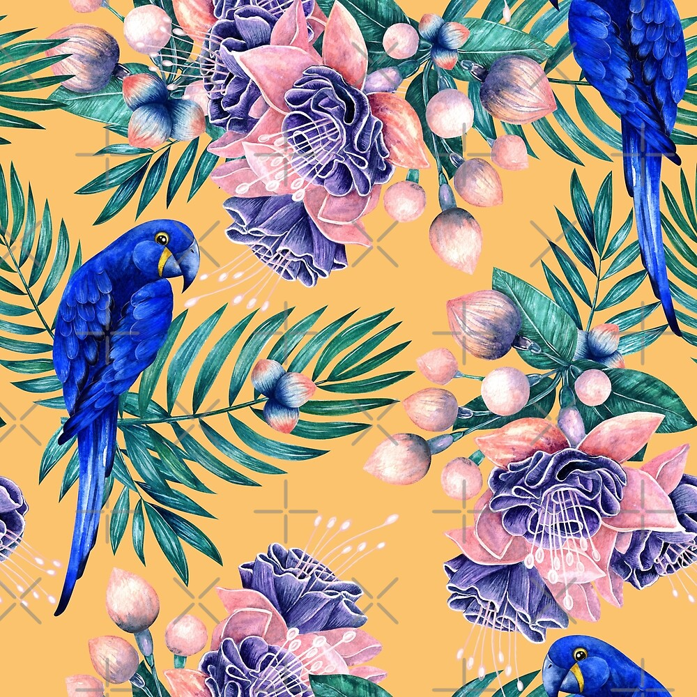 Tropical pattern with blue parrots by Kamila Nigmatullina
