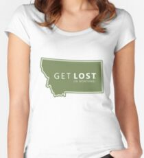 Get Lost in Montana MT State Decal Women's Fitted Scoop T-Shirt