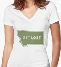 Get Lost in Montana MT State Decal Women's Fitted V-Neck T-Shirt