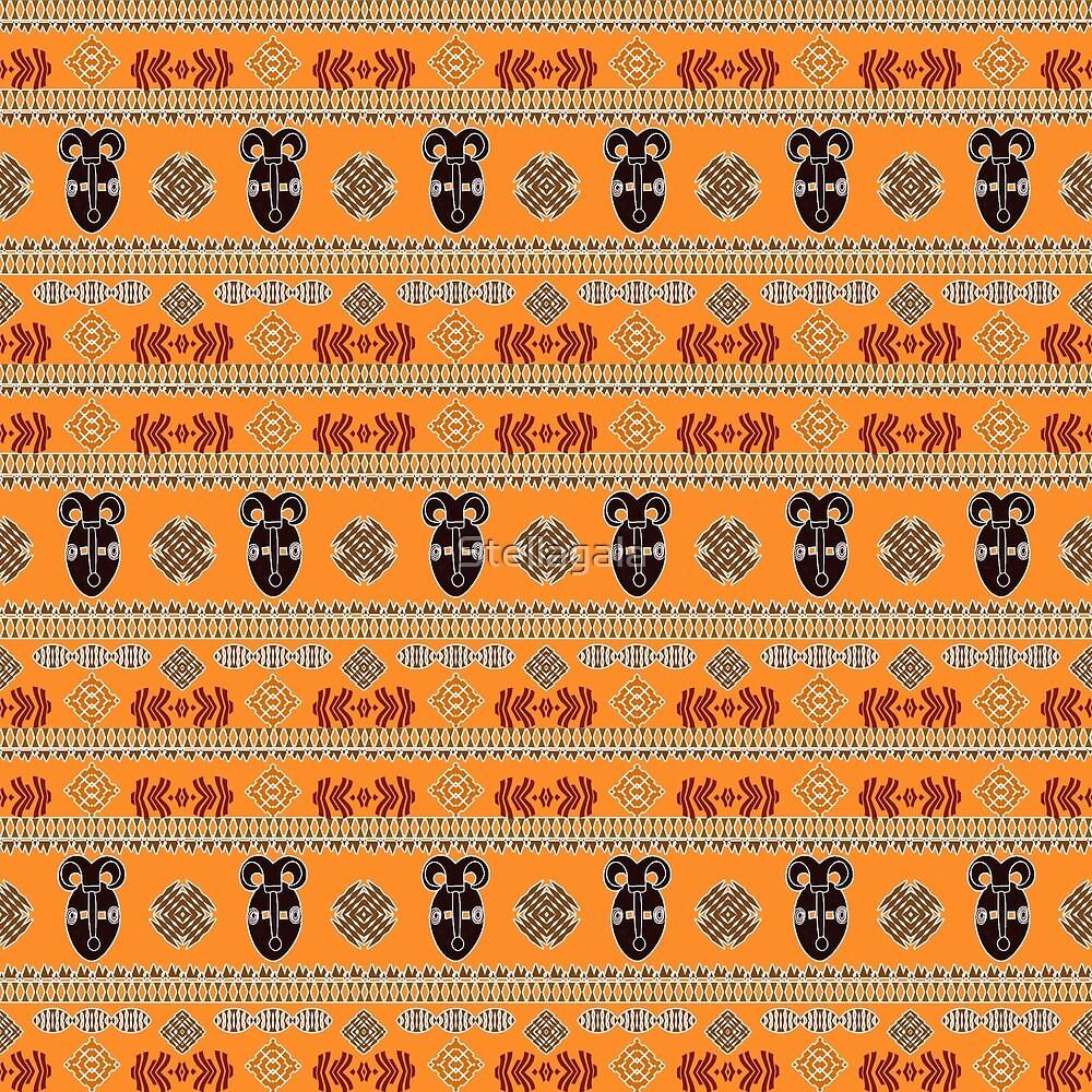 ethnic african tribal seamless pattern with mask by Stellagala
