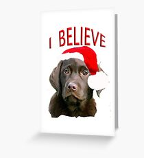 Chocolate Lab Christmas themed Greeting Card