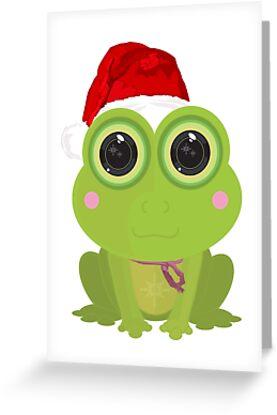 Christmas frog greeting cards by adam santana redbubble christmas frog by adam santana m4hsunfo