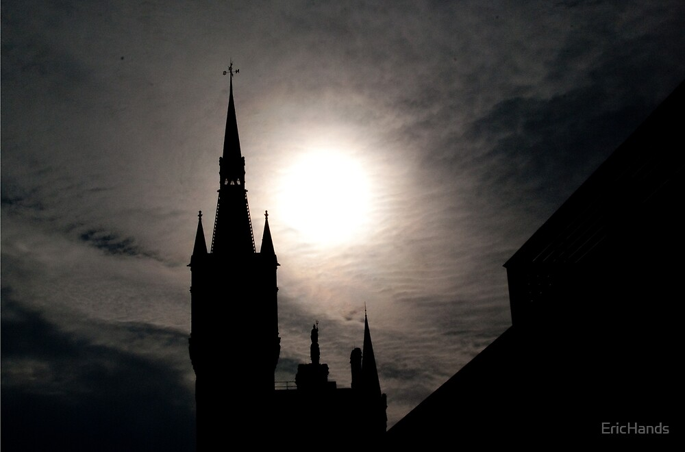 London's St. Pancras Station in silhouette by EricHands