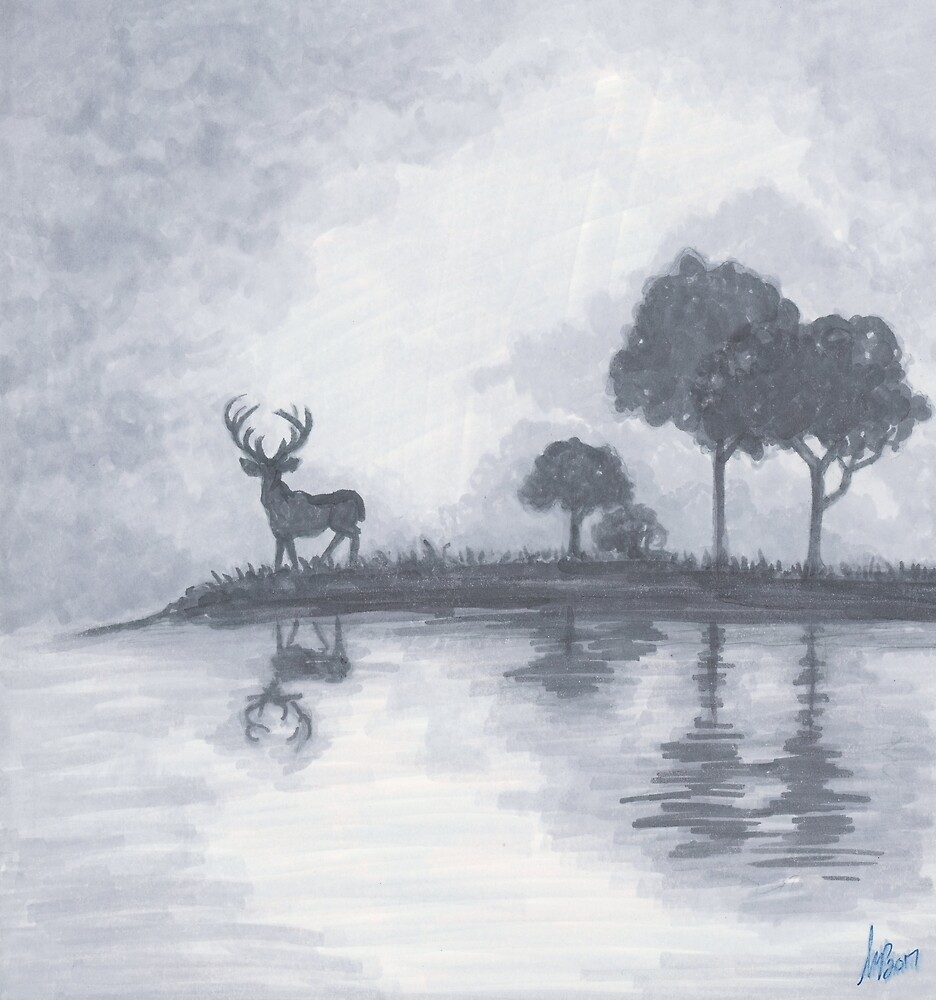 Stag on a Loch by The Art of Krista S. Payne