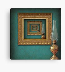 Surreal frames mirrored with vintage oil lamp Canvas Print