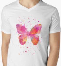 Artsy Butterfly pink and orange Men's V-Neck T-Shirt