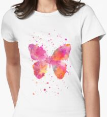 Artsy Butterfly pink and orange Women's Fitted T-Shirt
