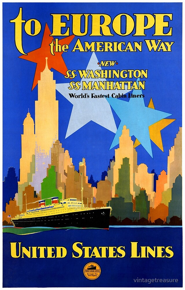 USA Cruise Lines Vintage Poster Restored by vintagetreasure
