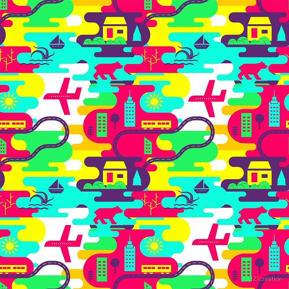 Bright neon pattern in laconic style by IZIcreation