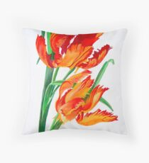 Bright Red Flamboyant Parrot Tulips Throw Pillow