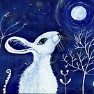 White moon gazing hare by margaretfraser