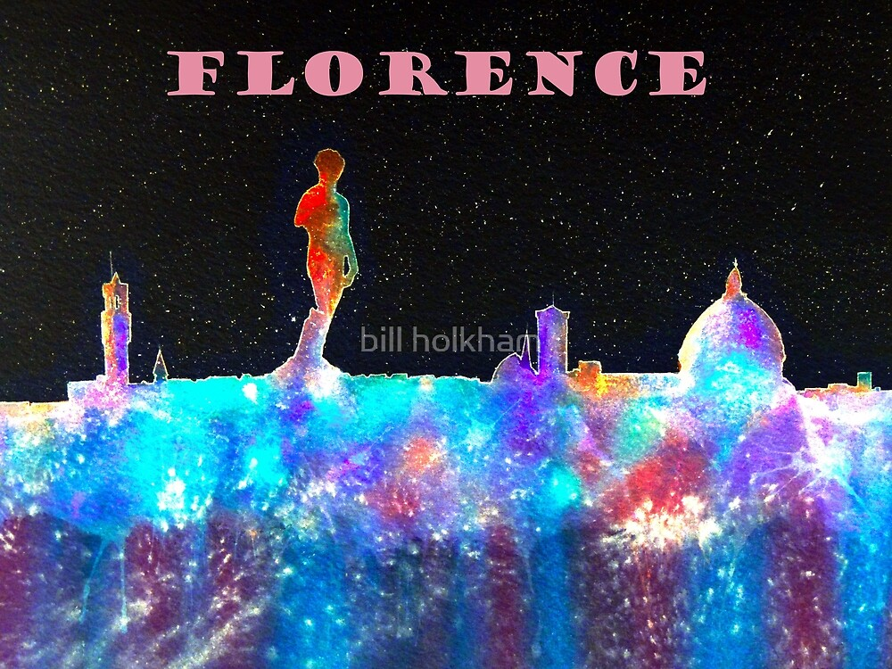 Florence Italy Skyline With Mauve Banner by bill holkham