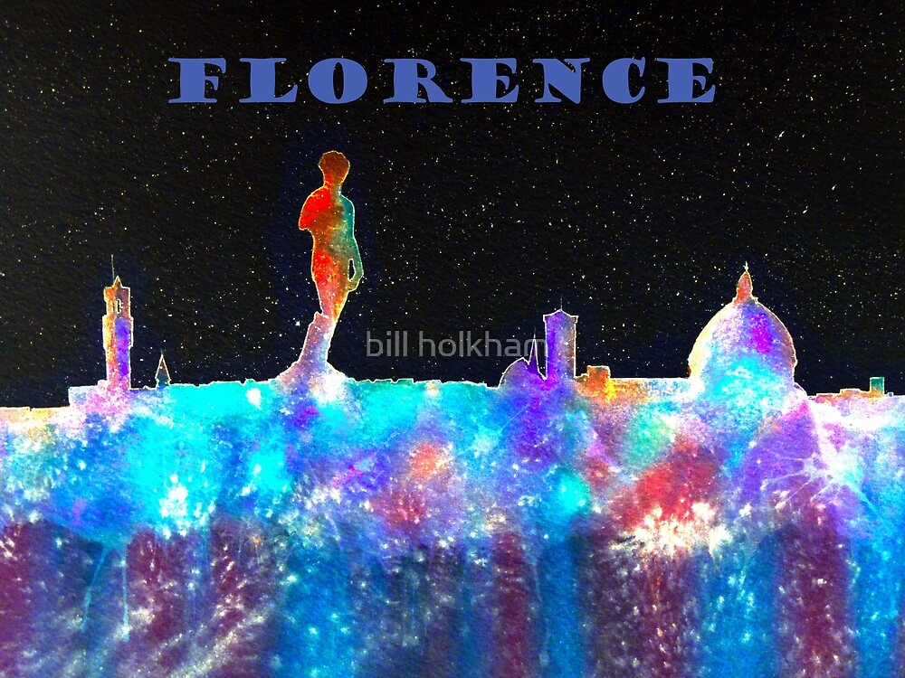 Florence Italy Skyline With Blue Banner by bill holkham