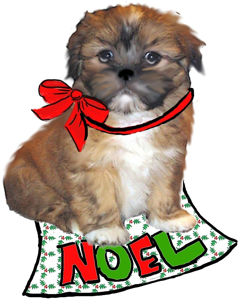 Christmas Lhasa Apso by IowaArtist