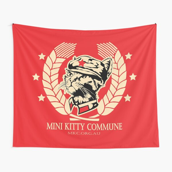 The Mini Kitty Commune Flag Tapestry