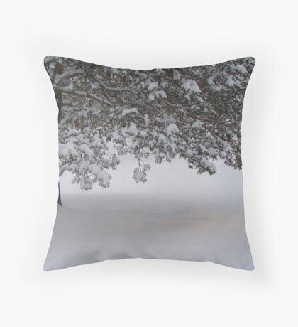 Snowed in pine tree. Throw Pillow
