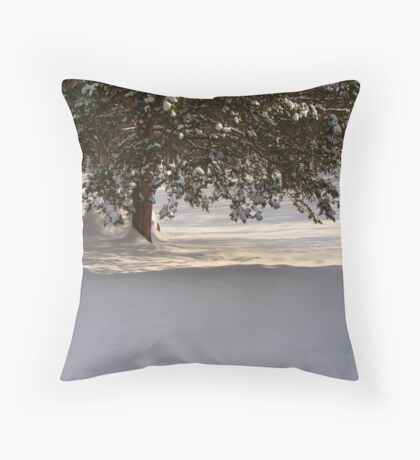 Snowed in pine tree in morning sun. Throw Pillow