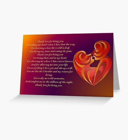 Thank You for Being You Poetry Greeting Card Greeting Card