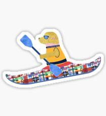 Golden Retriever Preppy Kayaker Sticker