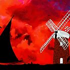 Horsey Drainage Mill & Wherry, Norfolk Broads 19th century by Dennis Melling