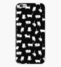 White cats on black iPhone Case