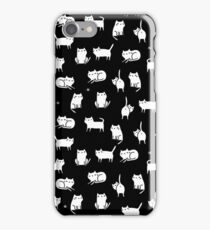 White cats on black iPhone Case/Skin