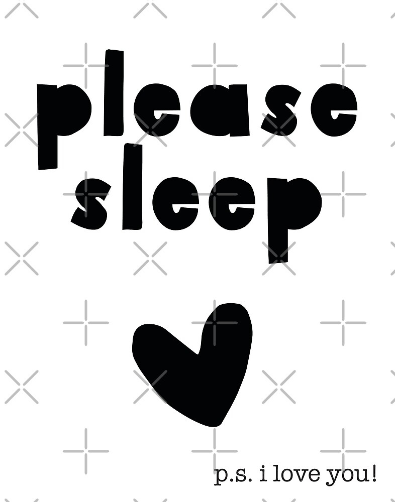 Please Sleep baby Nursery Wall Art Print black and White Hipster Style by DesIndie