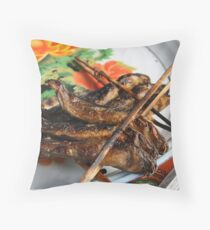 Barbequed Fish Skewers, Cambodia Throw Pillow