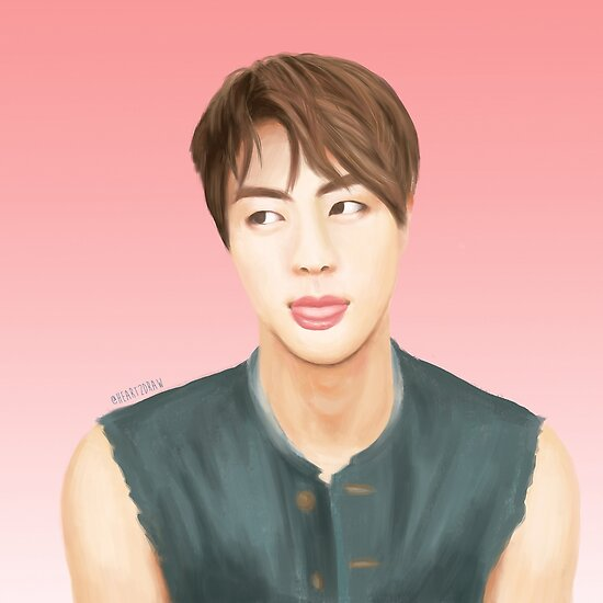 Bts Jin Drawing Posters By Heart2draw Redbubble