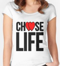 choose life black heart Women's Fitted Scoop T-Shirt