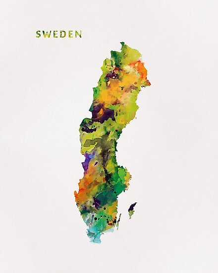 Sweden Watercolor Map by MonnPrint