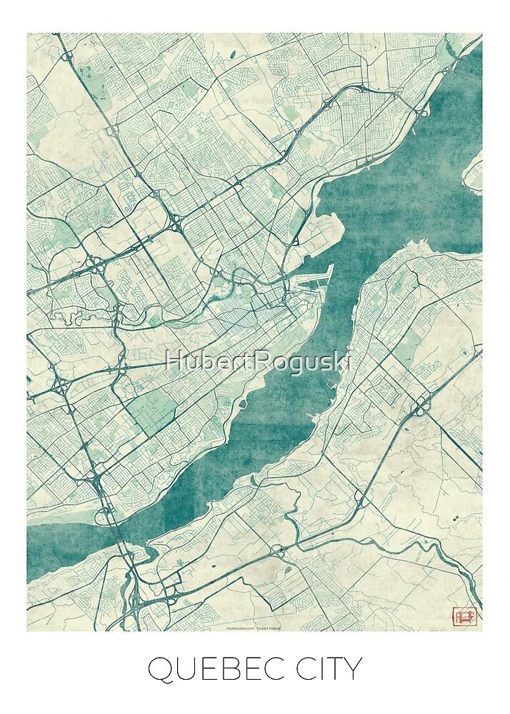 Quebec City Map Blue Vintage by HubertRoguski