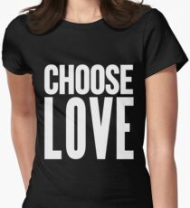choose love white Womens Fitted T-Shirt
