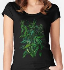 """Green & Black"", summer greenery, floral art, pastel drawing Women's Fitted Scoop T-Shirt"
