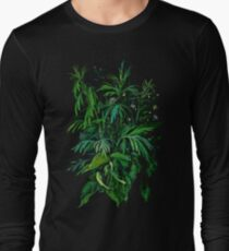 """Green & Black"", summer greenery, floral art, pastel drawing Long Sleeve T-Shirt"