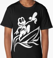 Black and White Cartoon Frog Surfing - Surfing Gifts Long T-Shirt