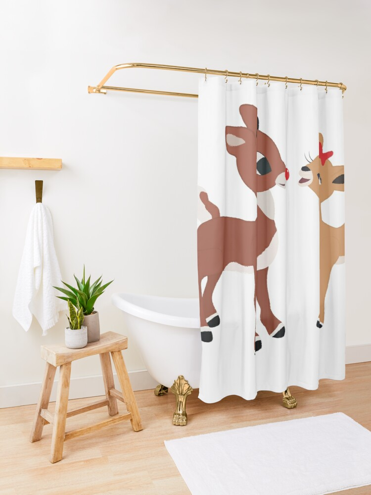 Alternate view of Classic Rudolph and Clarice Shower Curtain